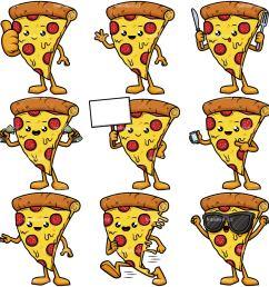 cute pizza mascot collection vector cartoon clipart [ 1200 x 1200 Pixel ]