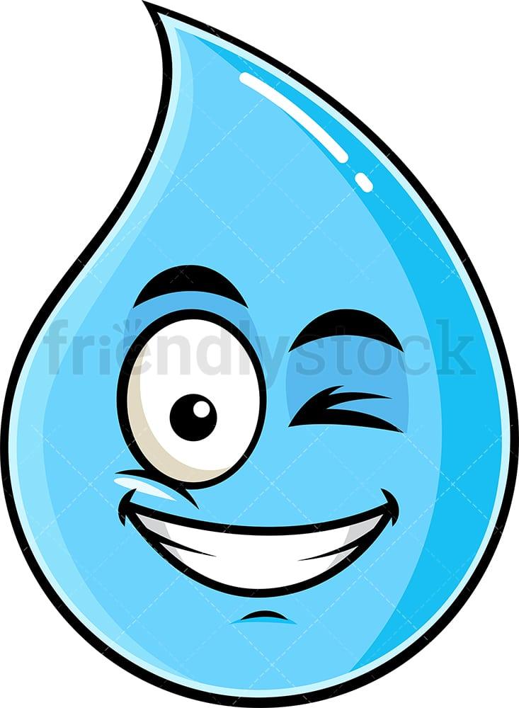 Cartoon Rain Drop : cartoon, Winking, Smiling, Raindrop, Emoji, Cartoon, Clipart, Vector, FriendlyStock