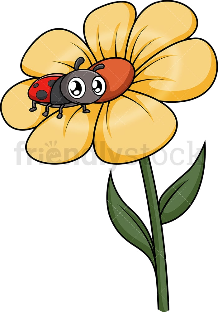 Ladybug On A Flower : ladybug, flower, Ladybug, Flower, Cartoon, Clipart, Vector, FriendlyStock