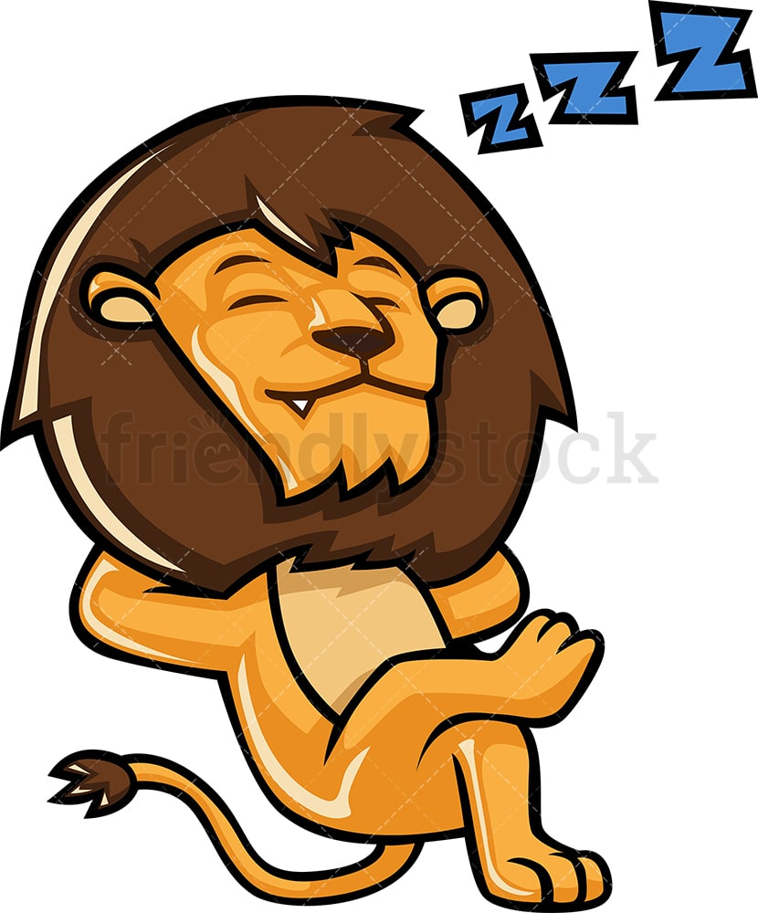 The Lion Sleeping : sleeping, Sleeping, Cartoon, Clipart, Vector, FriendlyStock