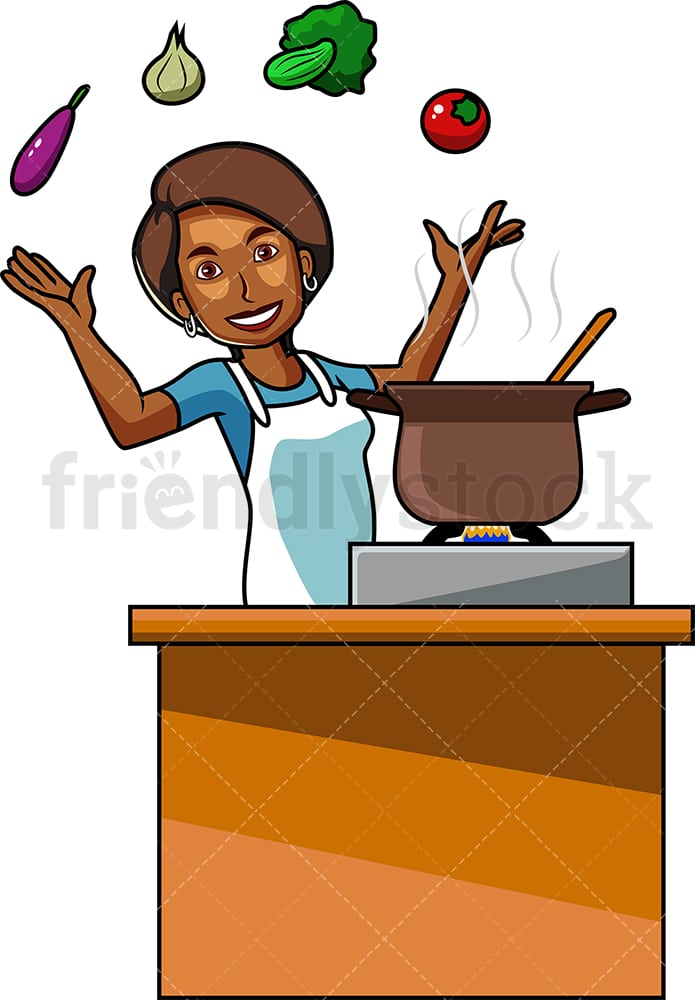 Cooking Cartoon Images : cooking, cartoon, images, Black, Woman, Cooking, Vegetables, Cartoon, Vector, Clipart, FriendlyStock