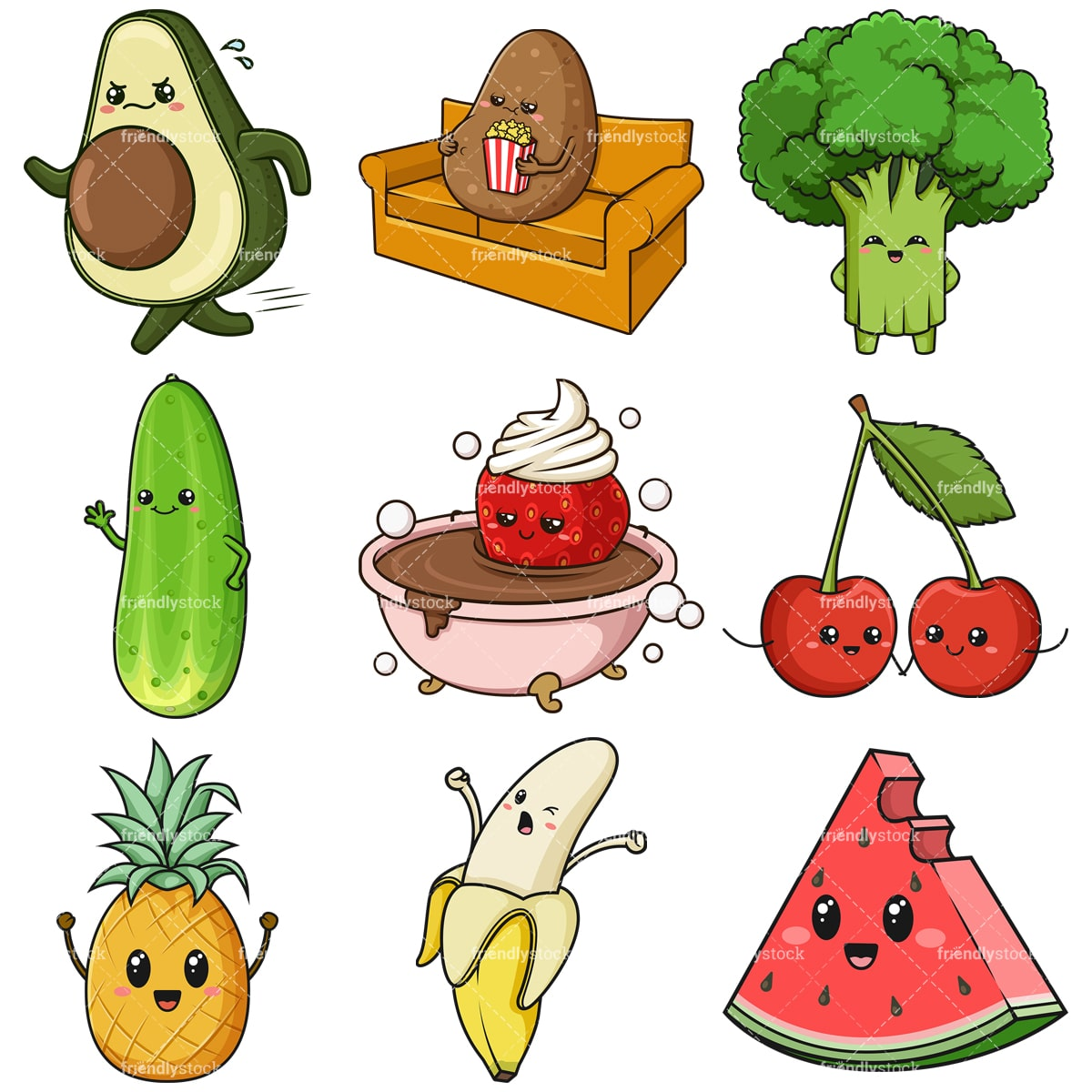 Kawaii Food And Fruit Clipart Bundle Friendlystock