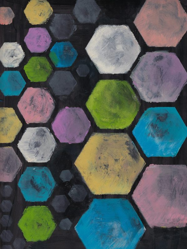AT Pastel Hexagons 9×12 Acrylic $45 2-17