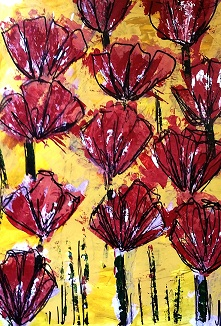 JB Red Blooms 9×12 acrylic $35 2-18