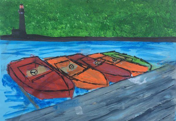 ADM Speed boat racing 9×12 acrylic $40 7-18