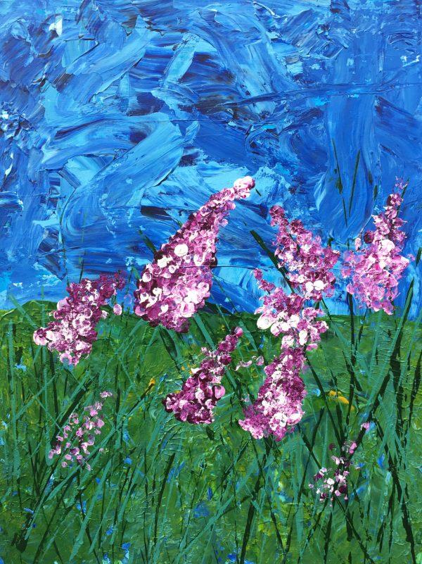TiD Wisteria Fields 9×12 Acrylic $45 7-18