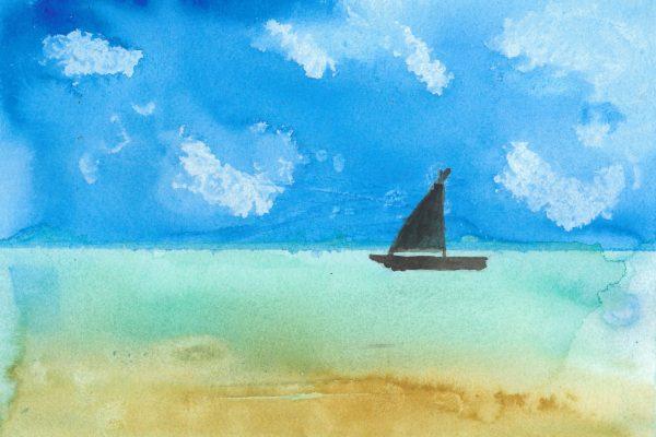 SE Simple Sail 7×10 watercolor $40 8-19