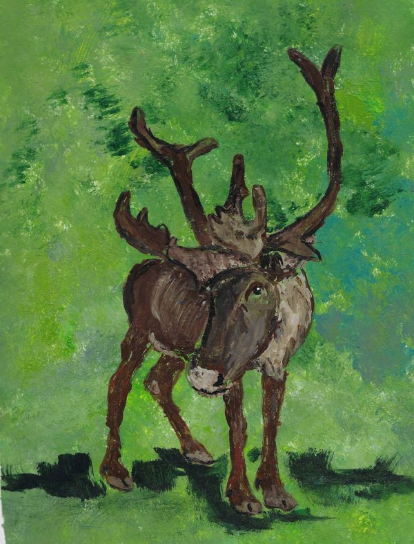 AD caribou stare at you 9×12 acrylic 11-18 $40