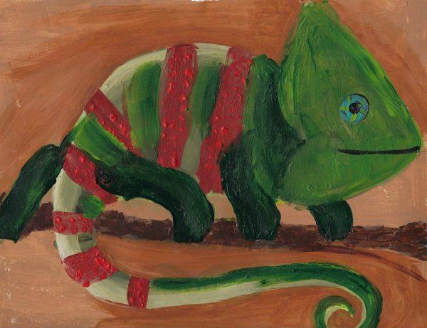 AD the christmas lizard 9×12 acrylic $45 1-20