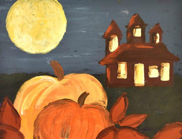BP Halloween House 11×14 acrylic $50 11-19