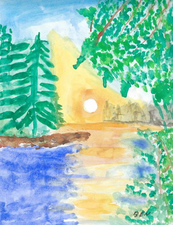 BW Forest Clearing 9×12 Watercolor $40 3.2017