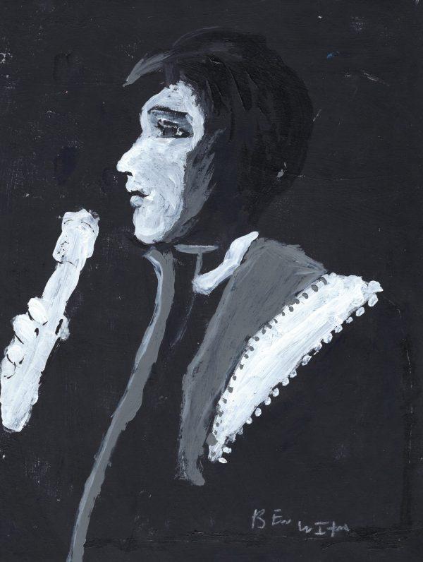 BW Mr. Presley 9×12 acrylic $40 6-17