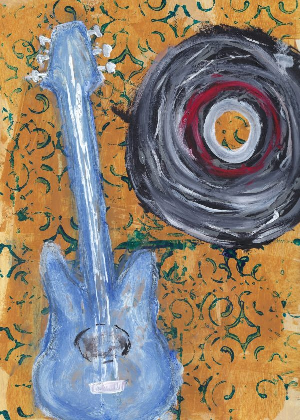 BW Musican Daydream 9×12 acrylic $40 6-19