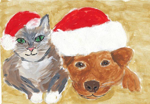 BW Santa Buddies 7×10 Acrylic $40 12.2015