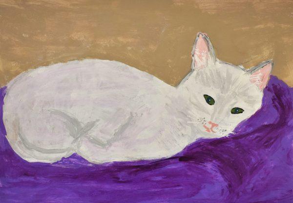 BW The Pretty Kitty 11×14 acrylic $55 6-19