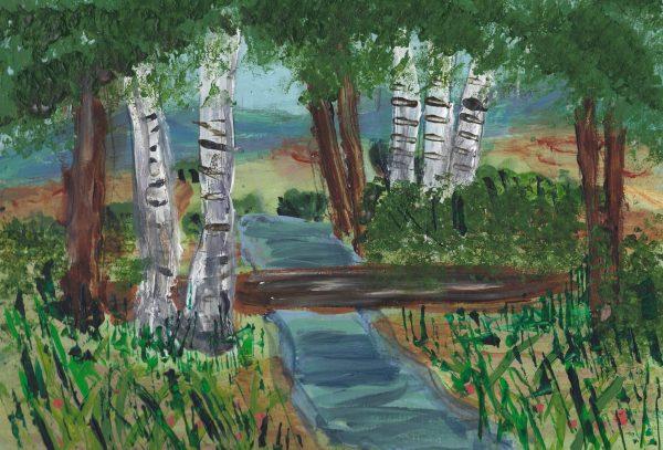 CH A Walk Through the Woods 9×12 acrylic $50 2-18