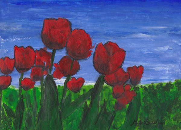 DL Tiptoeing Through the Tulips 9×12 mixed $50 7-16