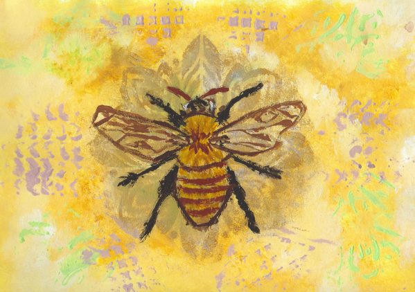 DS Bee Mine 9×12 acrylic $45 1-18