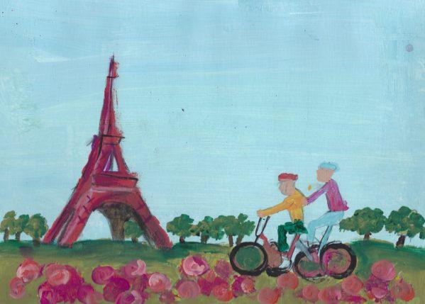 DS Biking Through Paris 9×12 acrylic $45 9-19