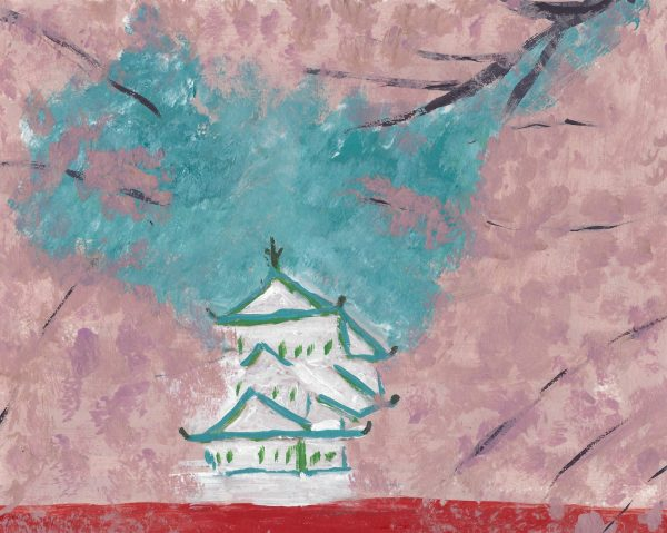 DS Hirosake Castle 7×9 acrylic $50 4-16