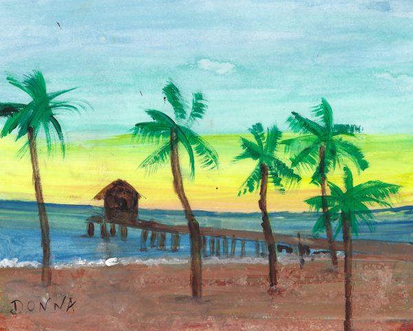 DS Orange Beach Pier 9×11 acrylic $45 8-19