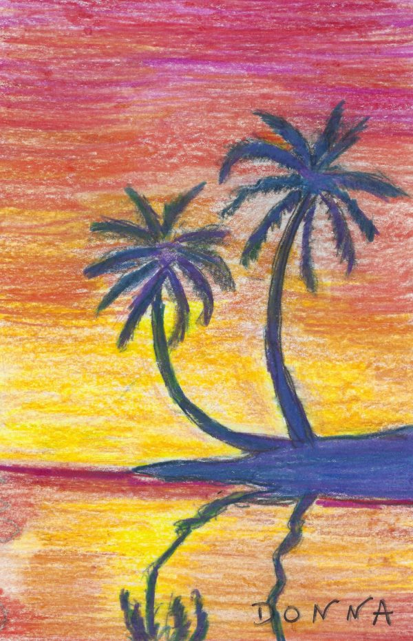 DS Palm Trees in Paradise 6×9 colored pencil $45 8-19