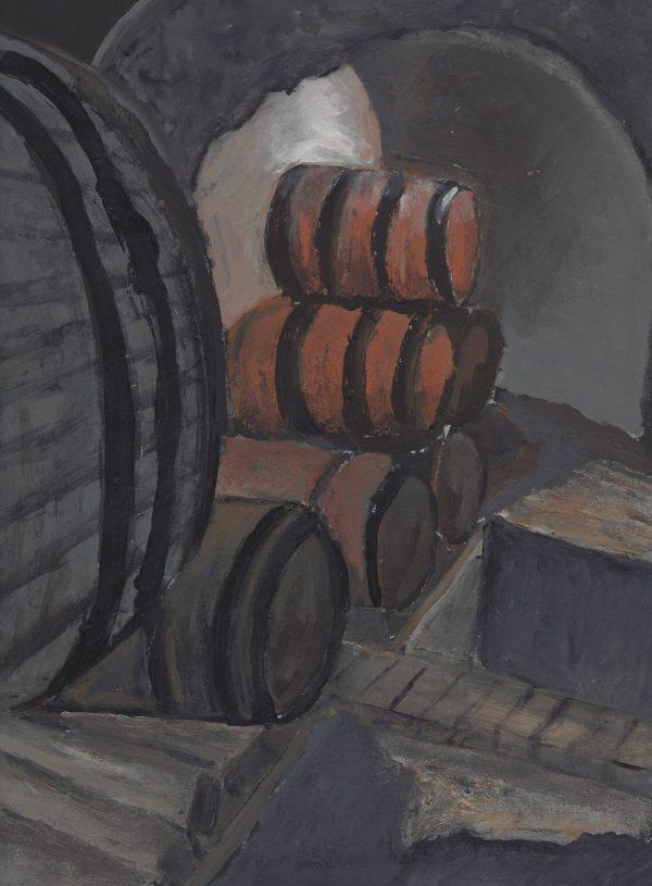 DaK Barrels of Fun 9×12 acrylic $45 2-17
