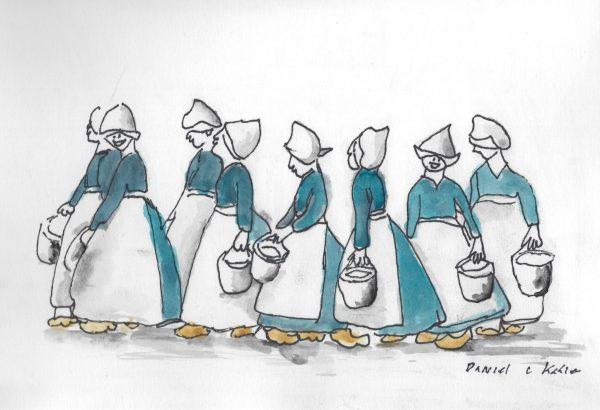 DaK Eight Maids A Milking 9×12 mixed $45 11-16