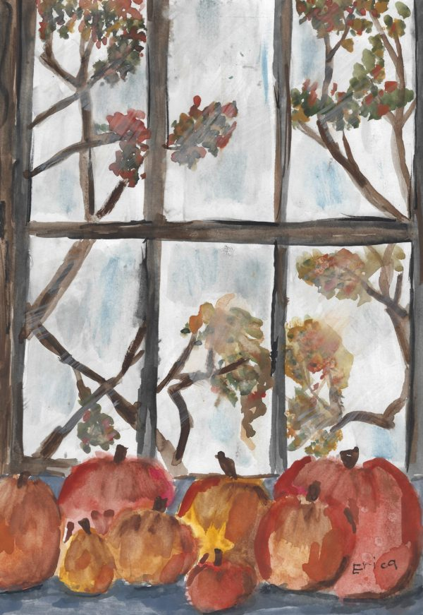 EM Fall Breeze and Autumn Leaves 9×12 watercolor $45 9-17