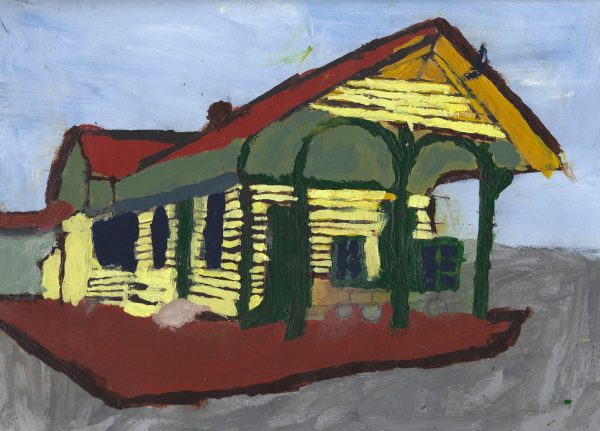 JO Train Station 9×12 acrylic $40 7-18