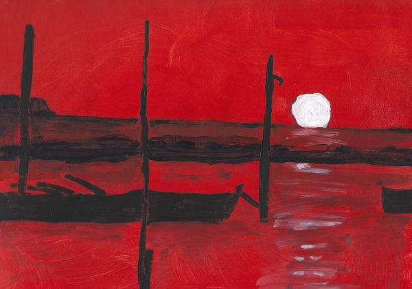 KH Sea of Red 9×12 acrylic $50 4-19