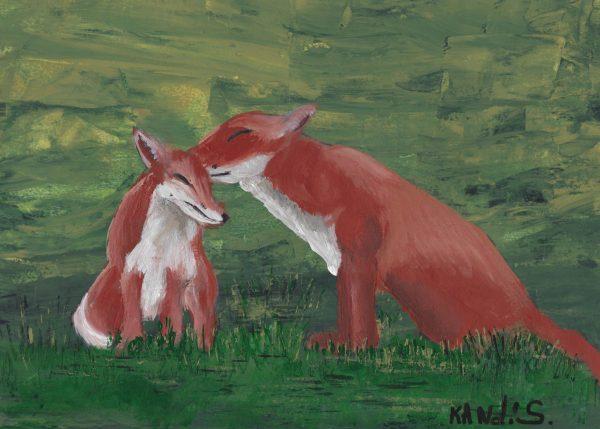 KS Frisky Foxes 9×12 acrylic $45 2-18