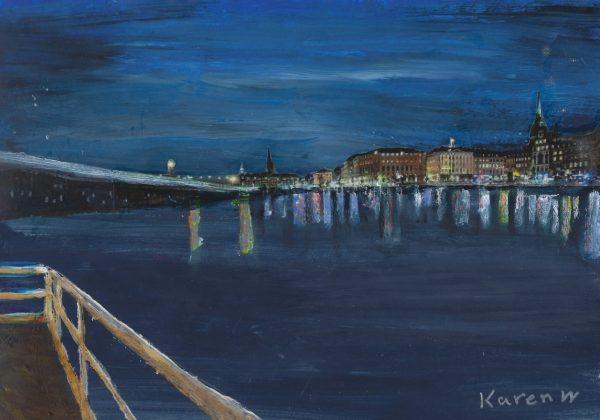 KW Bright Cityscape 9×12 mixed $45 9-18