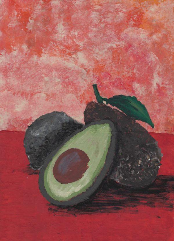 NB Sliced Avocado 9×12 acrylic $45 2-16