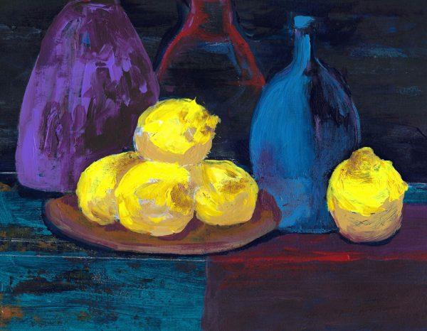 ShL lemons in the light 9×12 acrylic 1-20 $55