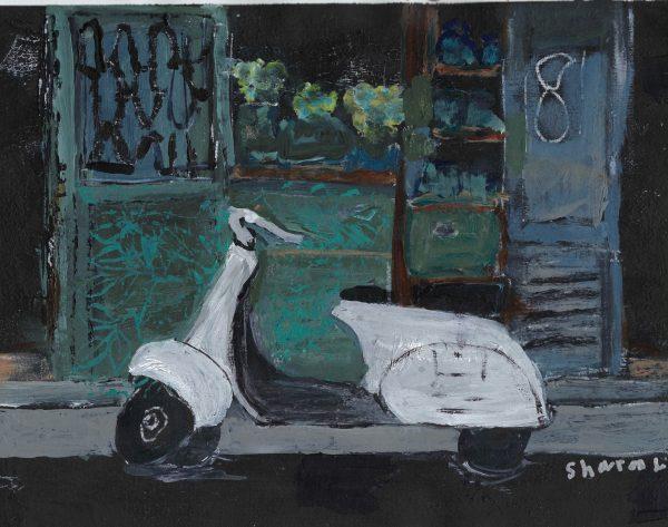ShL moped at midnight 9×12 mixed 5-18 $45