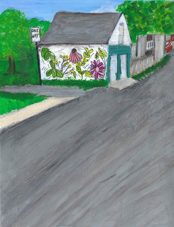 ShL neighborhood mural 9×12 mixed 9-16 $50