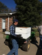 Taking the bee boxes our generous friend gave us.