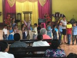 The children shared their Sunday school lesson