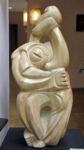 """Paragon Couple"" carved by pioneer artist John Odochamey"