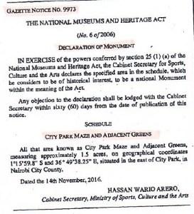 Maze gazette notice