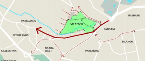 Map of City Park and surrounding Communities. [Source: Kounkuey Design Initiative]