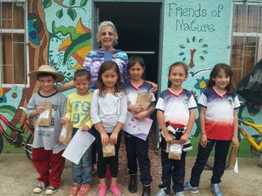 Jane with students