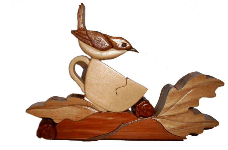 Wren in a Tea Cup Intarsia Wood Craft