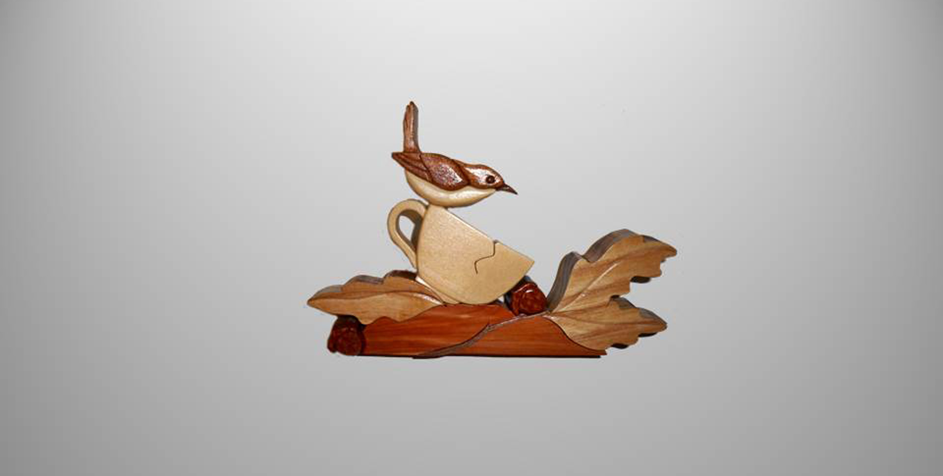 Instarsia Wood Craft for Auction! Wren in a Tea Cup