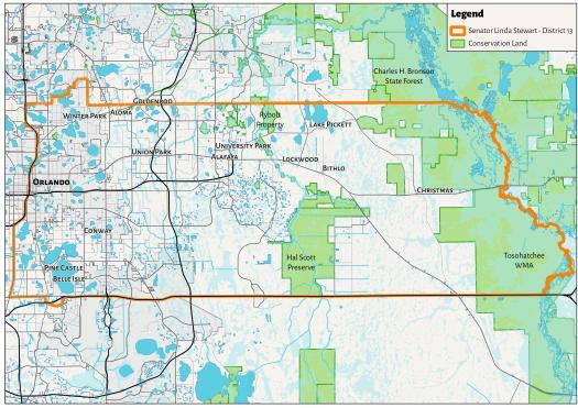 Initial focal area, Florida State Senate District 13