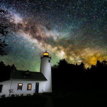 Michigan Island Lighthouse and Milky Way