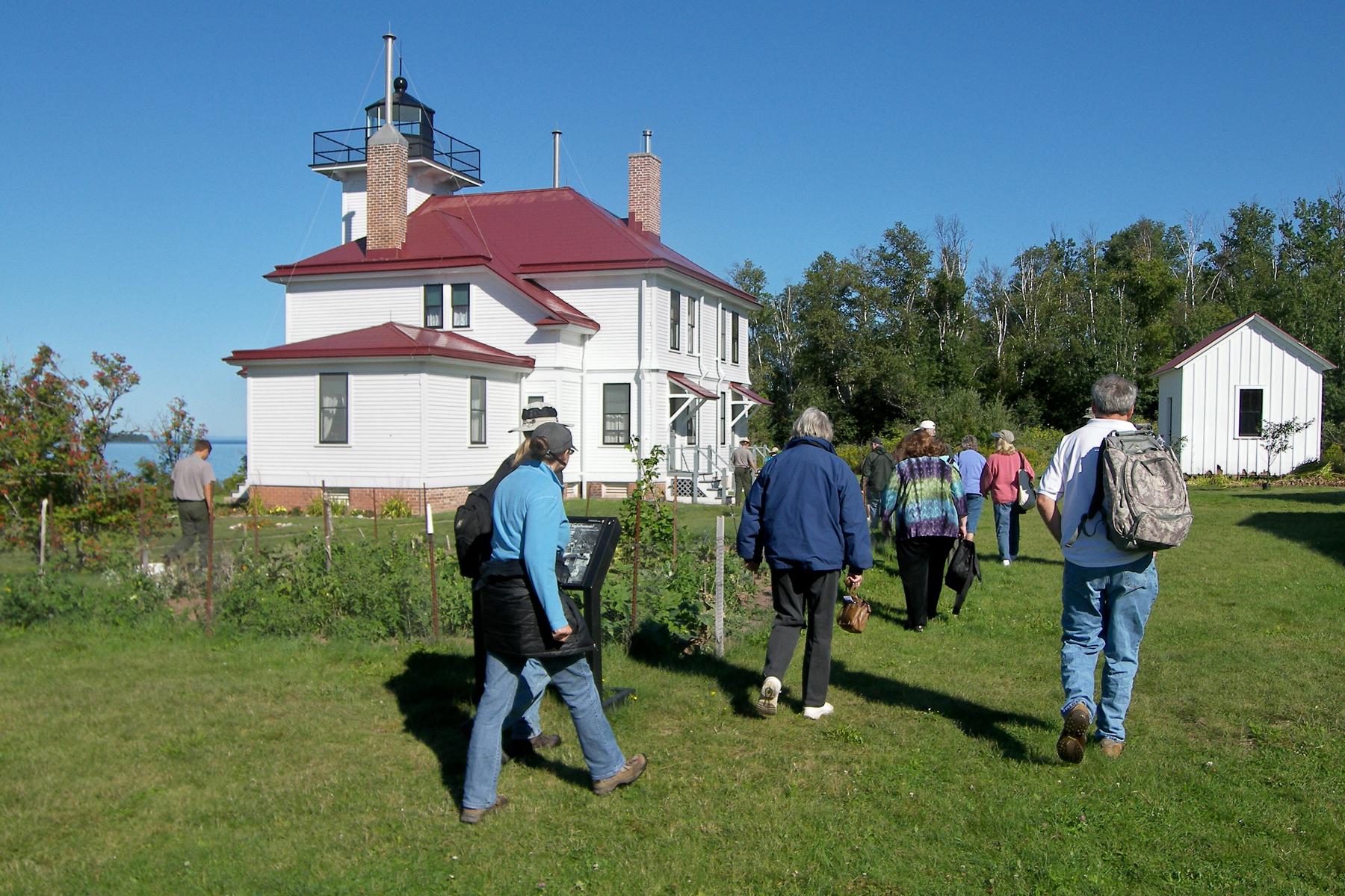 visitors at Raspberry Island Light