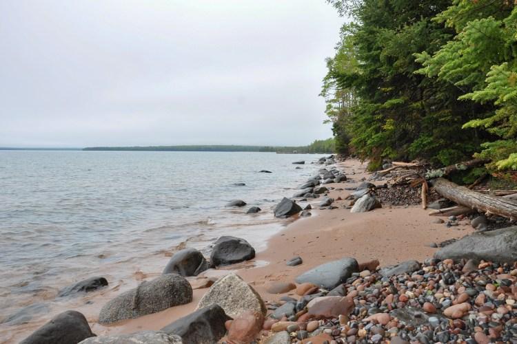 shoreline of Rocky Island looking south toward the dock