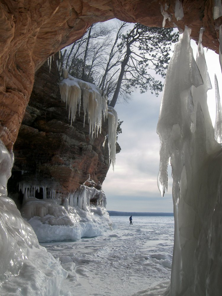 visitor at the mainland ice caves